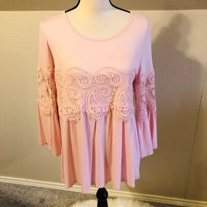 Women's 3/4 sleeve flare Blouse in light pink